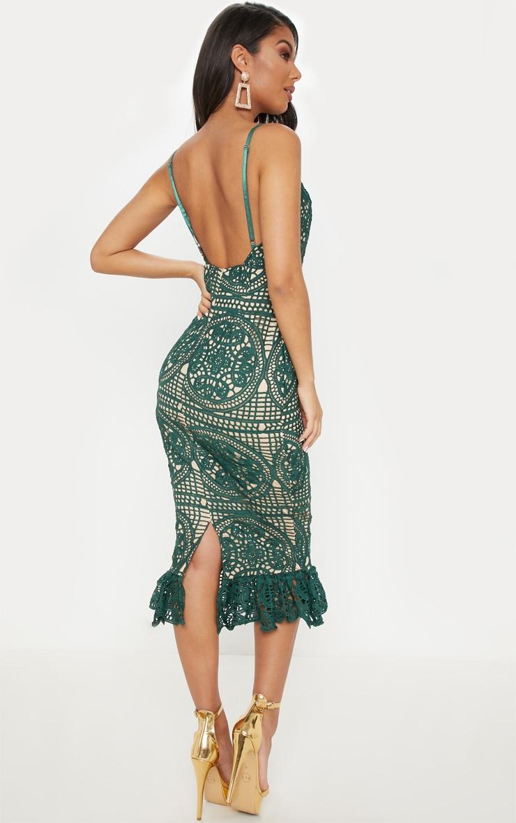 Emerald Green Strappy Thick Lace Frill Hem Midi Dress 2
