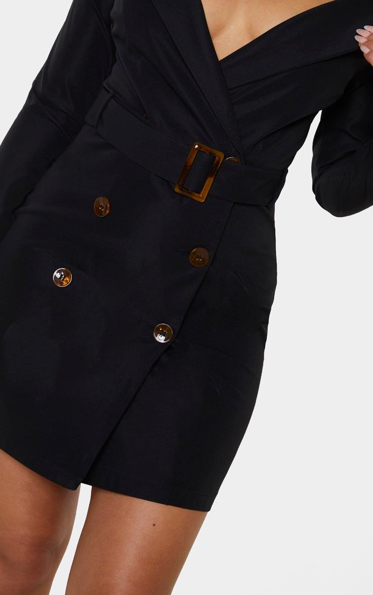 Black Bardot Tortoise Button Belted Blazer Dress 5