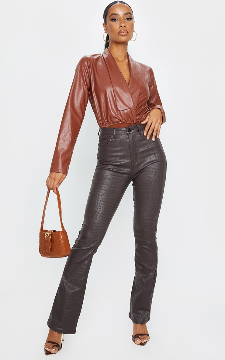 Chocolate Faux Leather Shirt Bodysuit 3