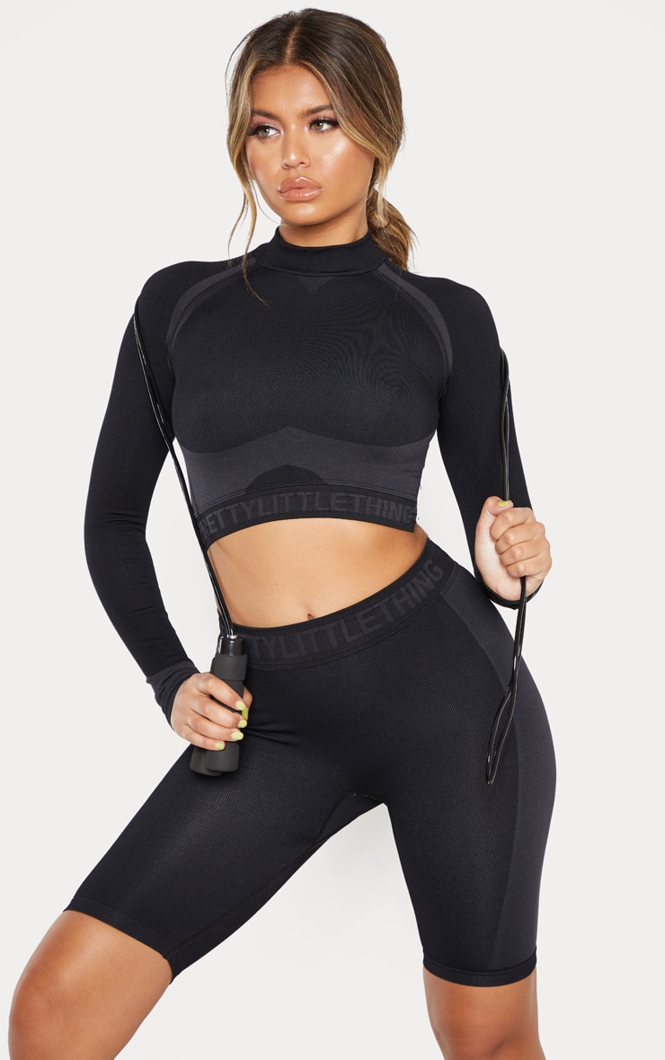 PRETTYLITTLETHING Black Seamless Longsleeve Crop Top 1