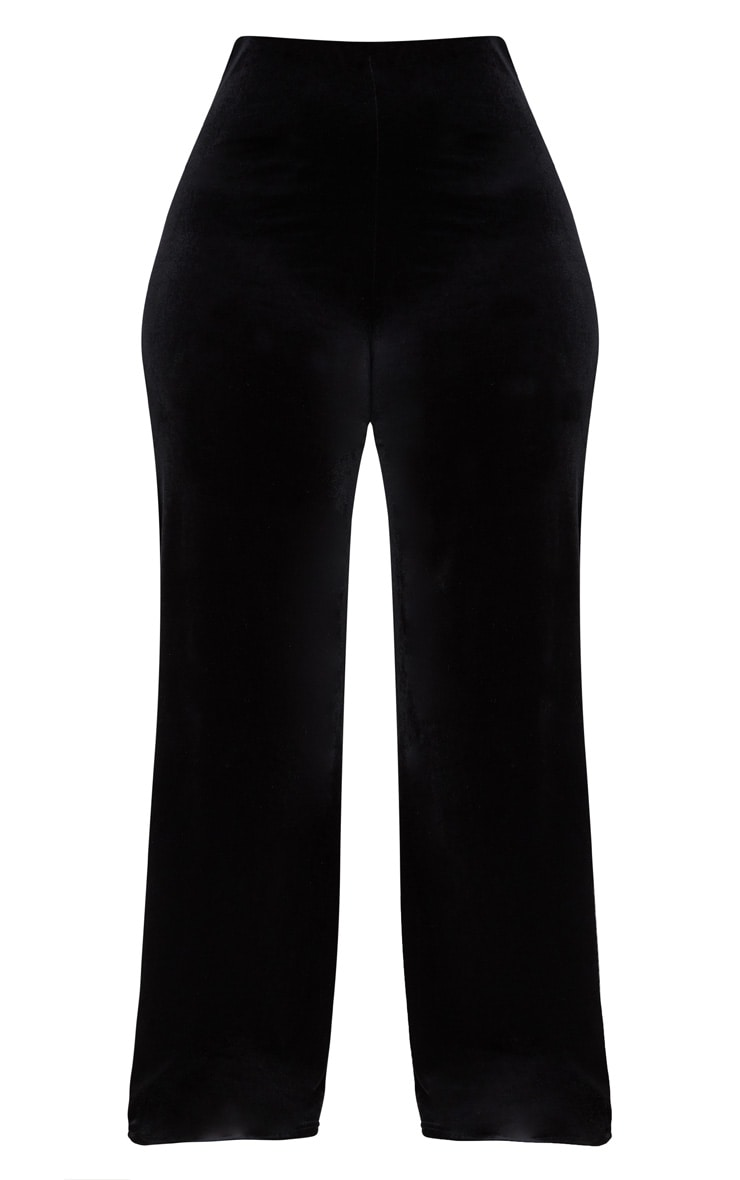 Plus Black Velvet Wide Leg Trousers 3