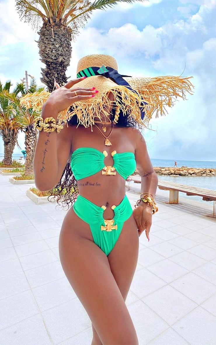 Green Hammered Trim Bikini Top 1