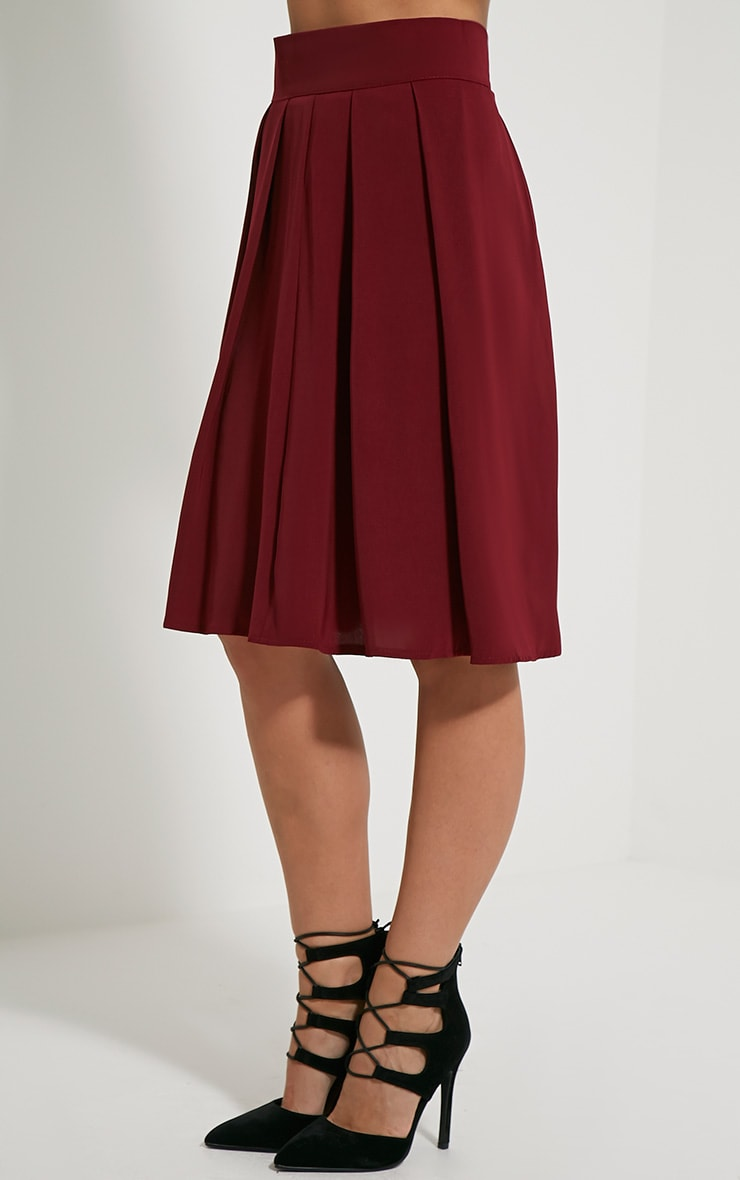 Bonnie Burgundy Pleated Midi Skirt 3