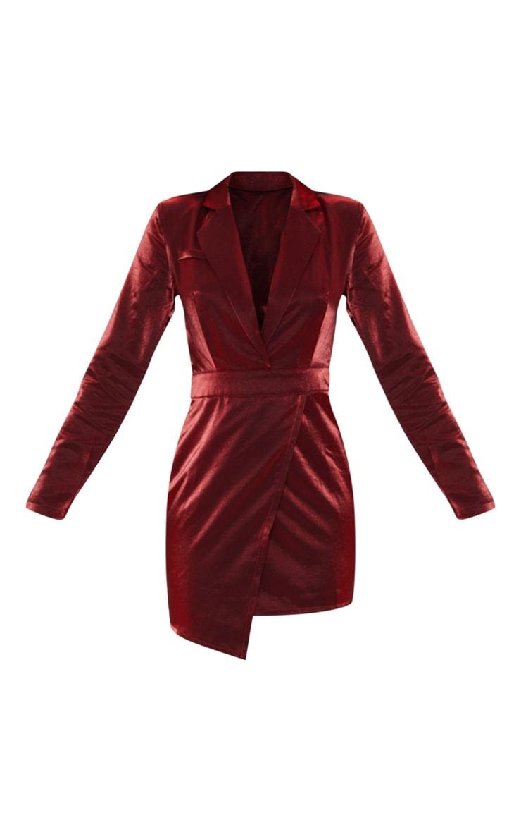 Red Metallic Shimmer Plunge Wrap Detail Blazer Dress  3