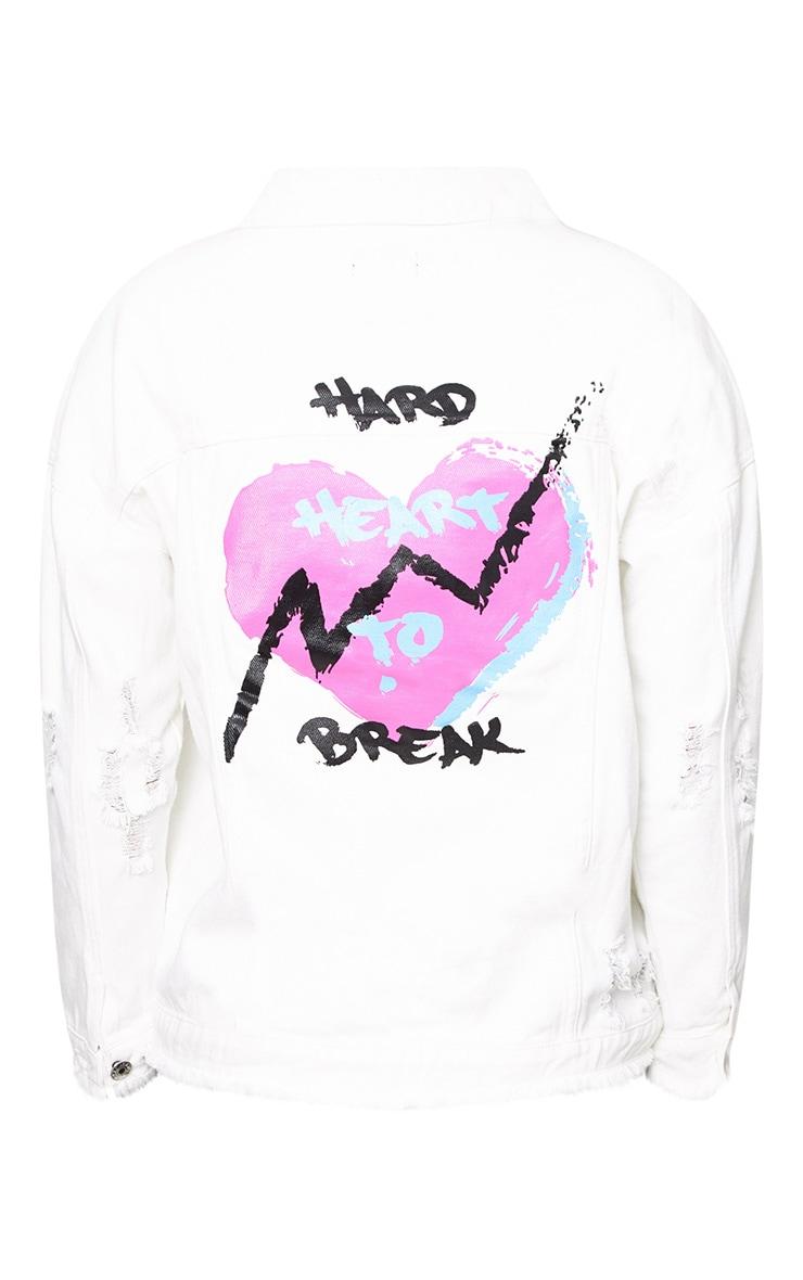 Ecru Hard Heart to Break Oversized Denim Jacket 4