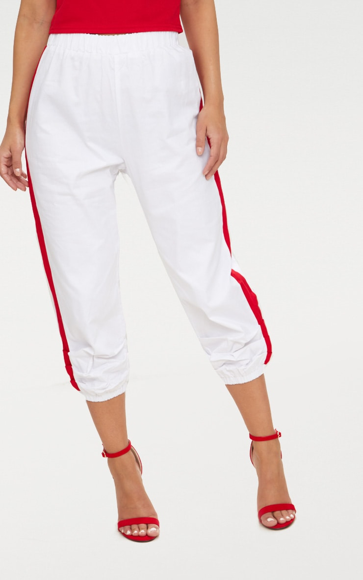 Petite White Cropped Contrast Stripe Cargo Trousers 2