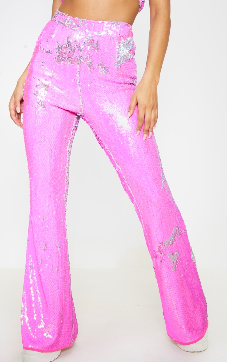 Baby Pink Sequin High Waisted Flare Leg Trousers 3
