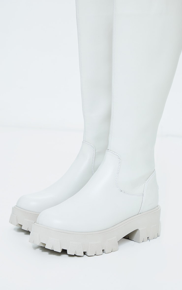 Cream PU Cleated Sole Chunky Wellies 4