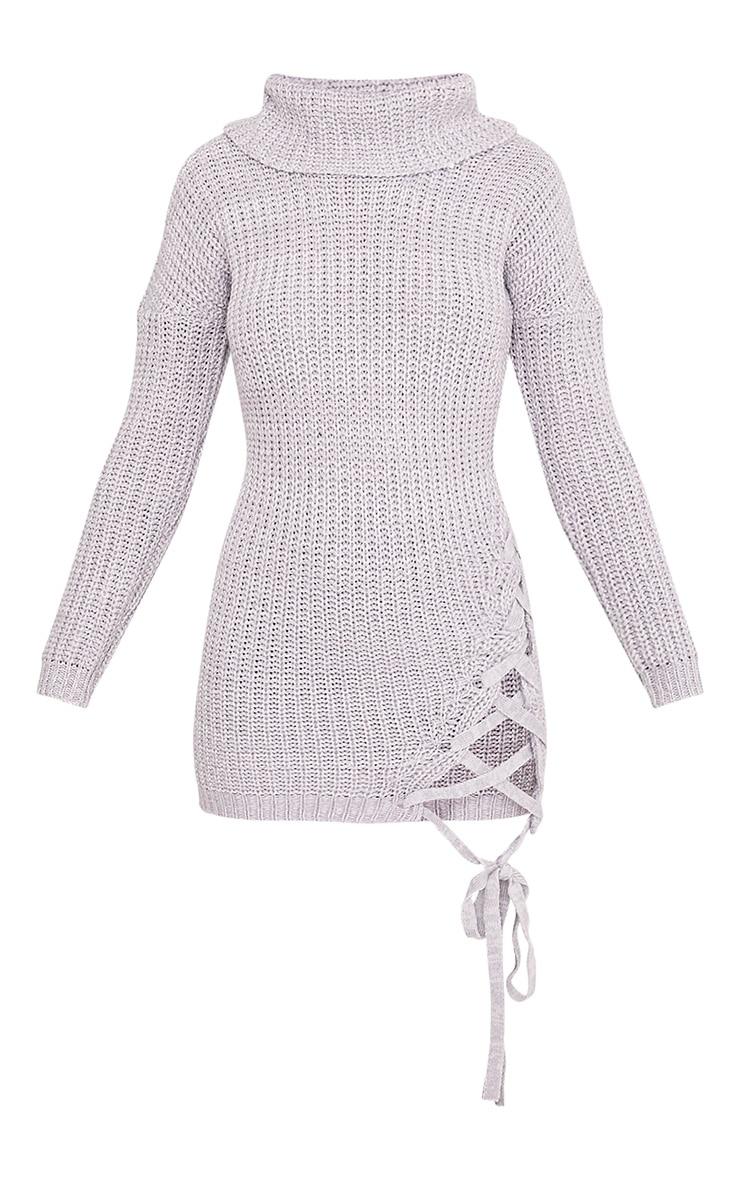 Millia pull surdimensionné gris à col roulé et lacets sur le côté  3