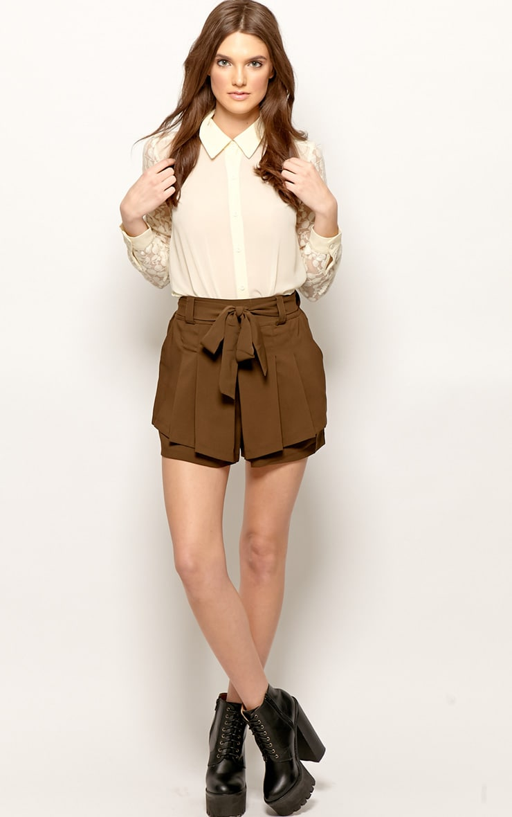 Montana Brown Pleated Shorts -M 1