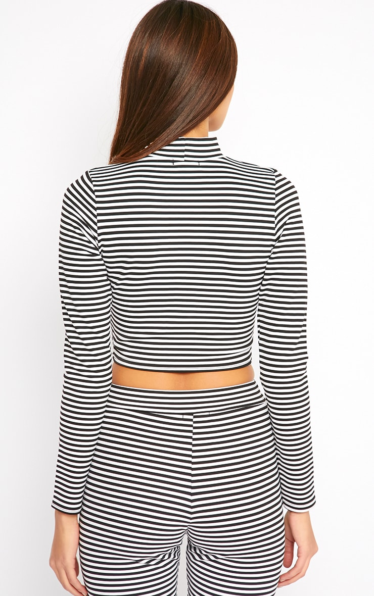 Allegra Monochrome Striped Turtle Neck Crop Top  2