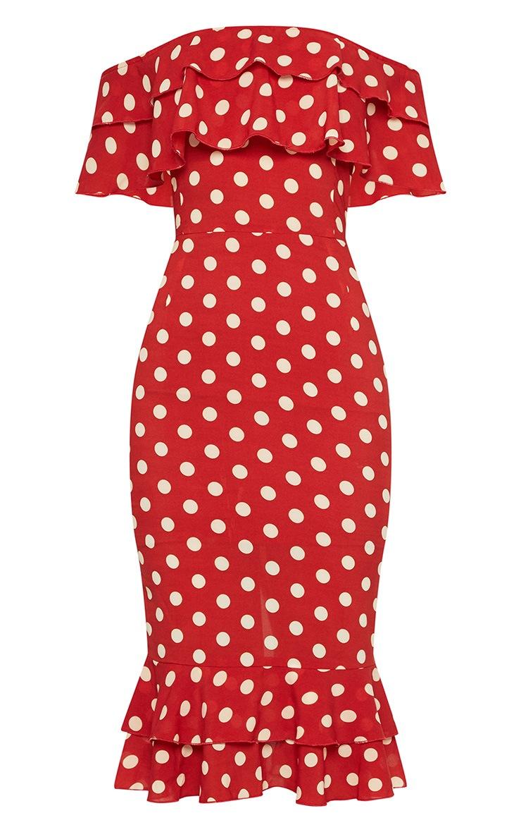 Burnt Orange Polka Dot Chiffon Frill Bardot Midi Dress  3