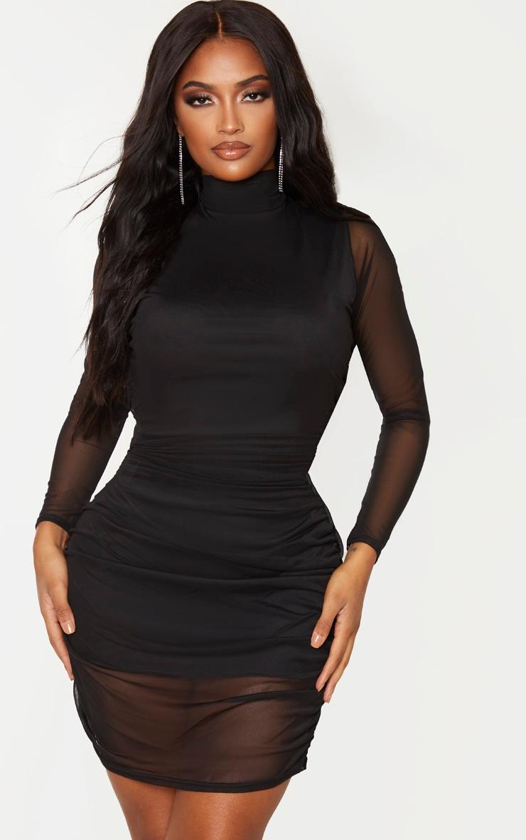 Shape - Robe moulante noire à manches longues 1