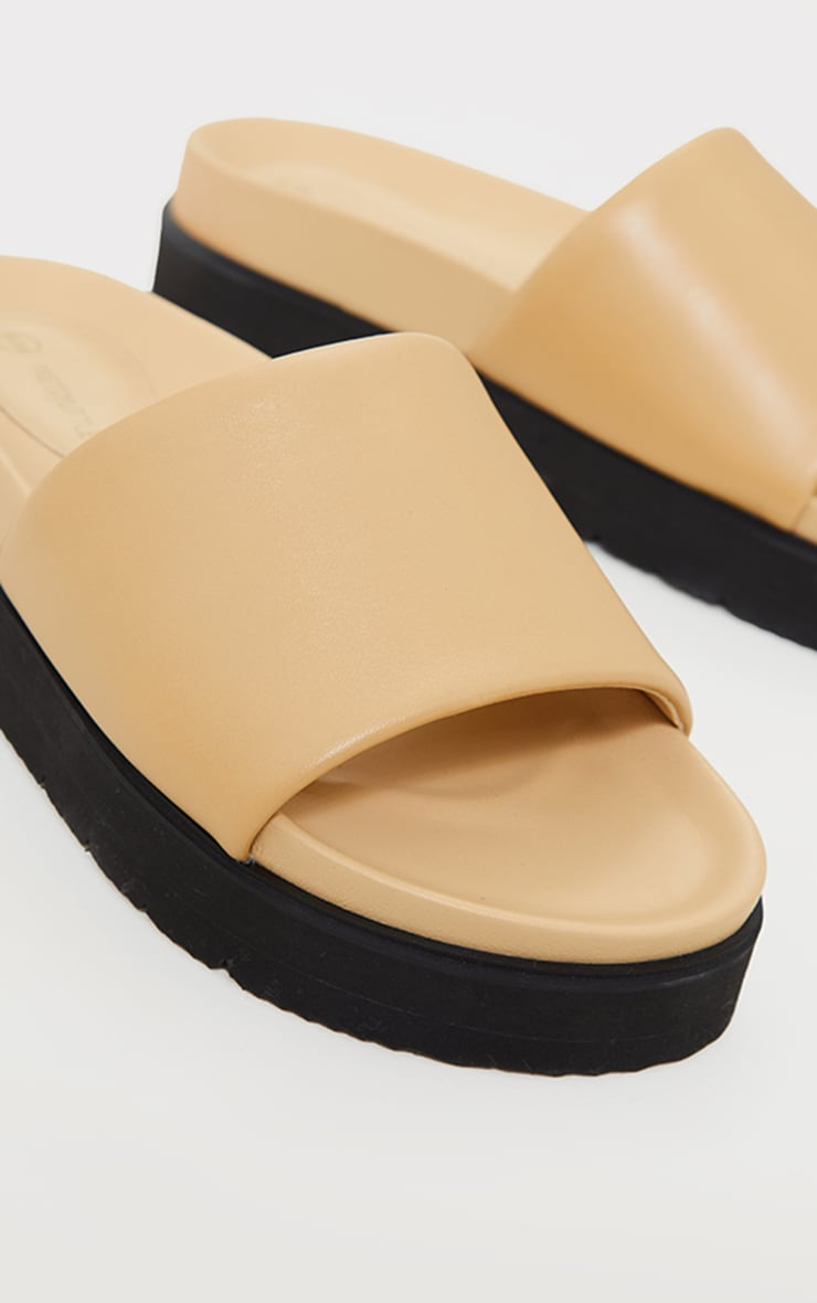 Camel Real Leather Footbed Chunky Mule Sandals 4