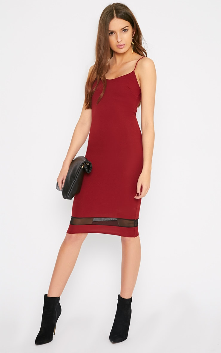Leah Burgundy Mesh Insert Midi Dress 3