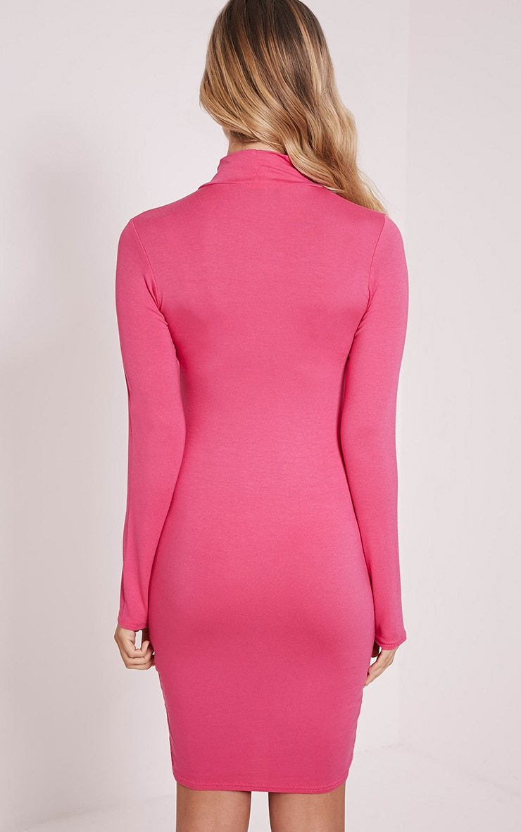 Basic Hot Pink Long Sleeve Bodycon Dress 3