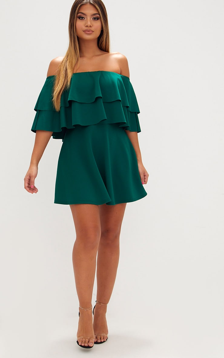 Emerald Green Frill Bardot Skater Dress