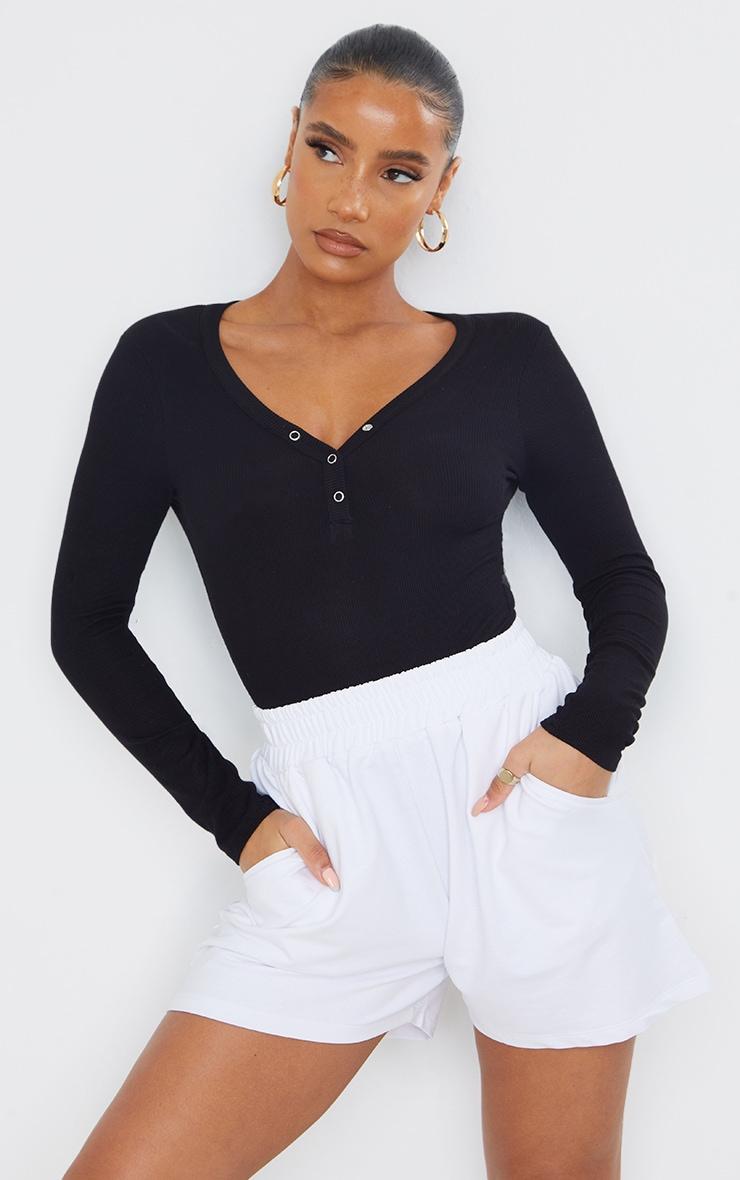 Black Long Sleeve Popper Detail Thong Bodysuit 1