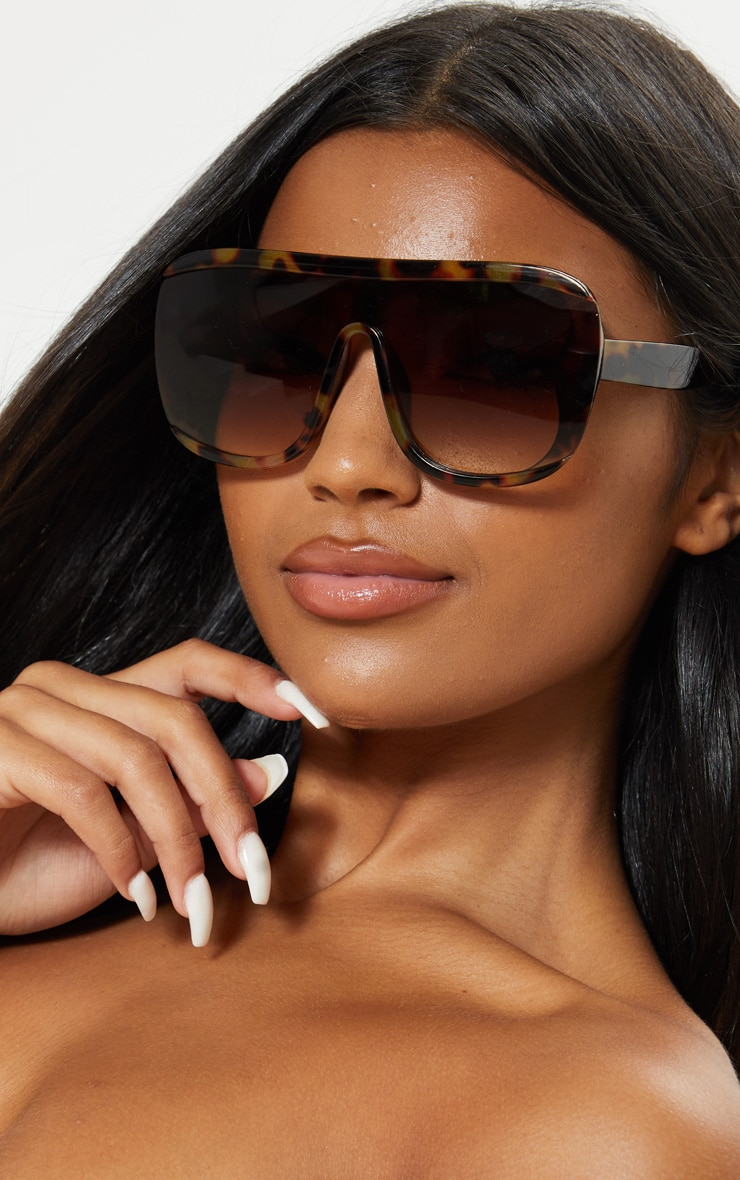 Tortoiseshell Curved Edge Oversized Sunglasses 1