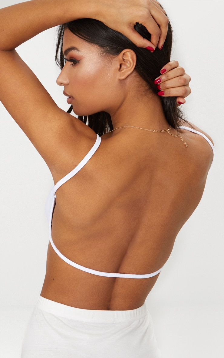 White Rib Strappy Back Bralet  6
