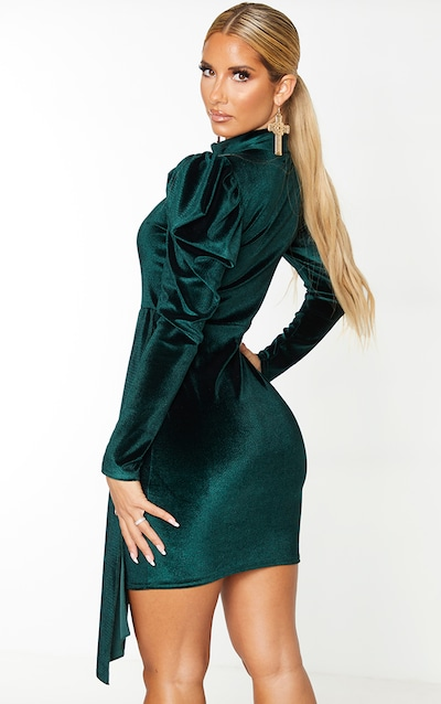 Emerald Green Velvet High Neck Bodycon Dress
