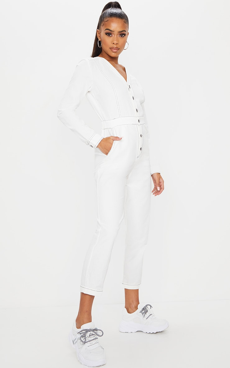 White Button Detail Contrast Stitch Denim Boilersuit 3