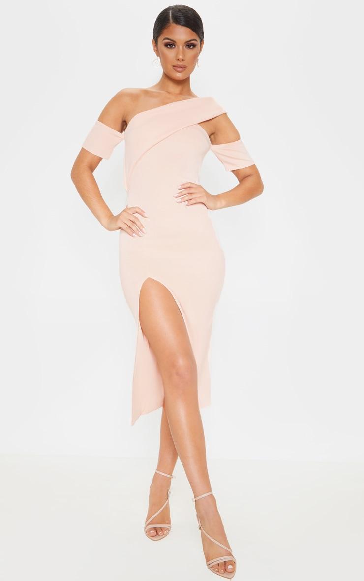 Nude Bardot Drape Detail Split Midi Dress 1