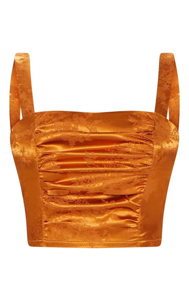Rust Satin Jacquard Gathered Detail Crop Top 3