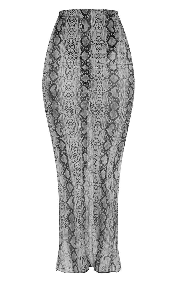 Grey Snake Print Mesh Maxi Skirt  3