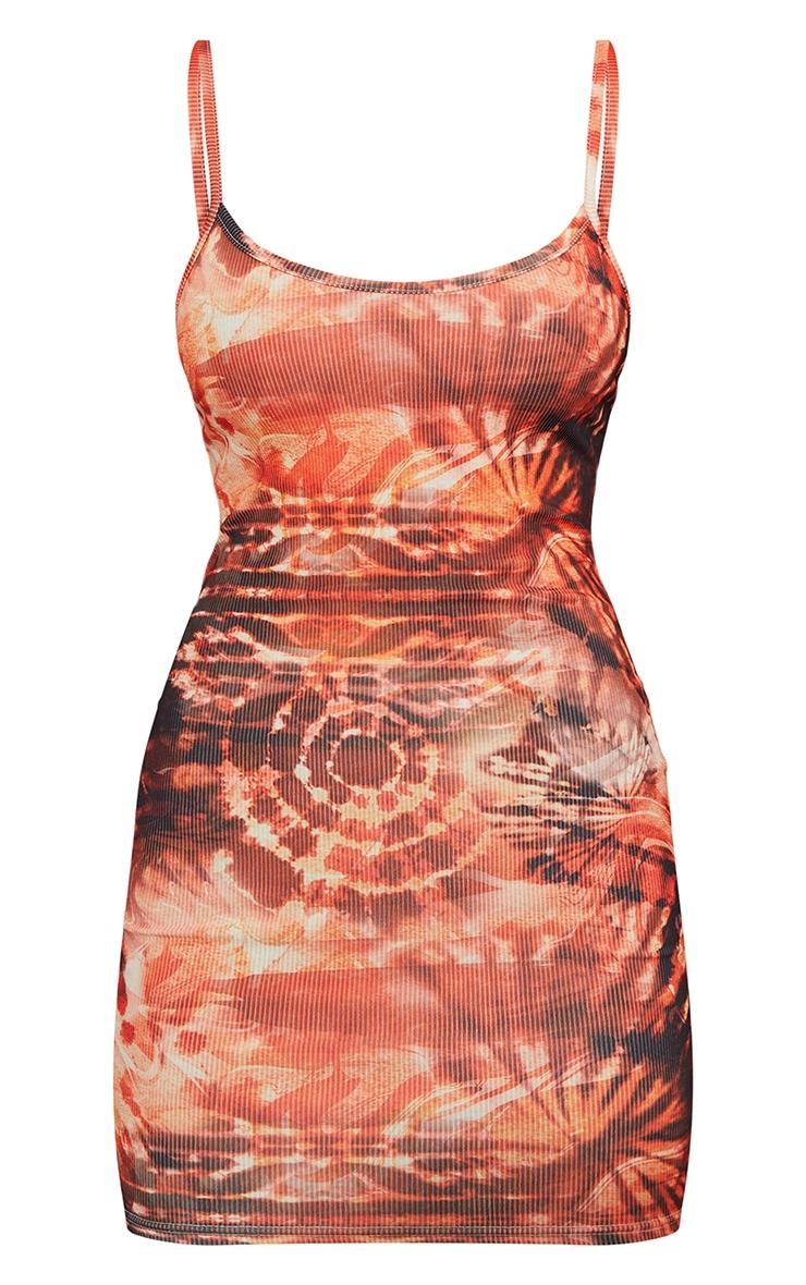 Orange Tie Dye Print Ribbed Strappy Bodycon Dress 5
