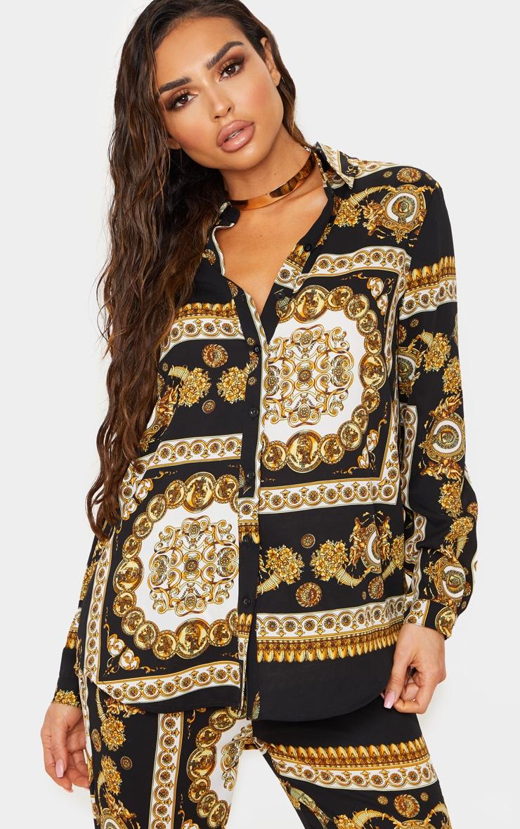 Chemise oversize à imprimé foulard noir, Noir