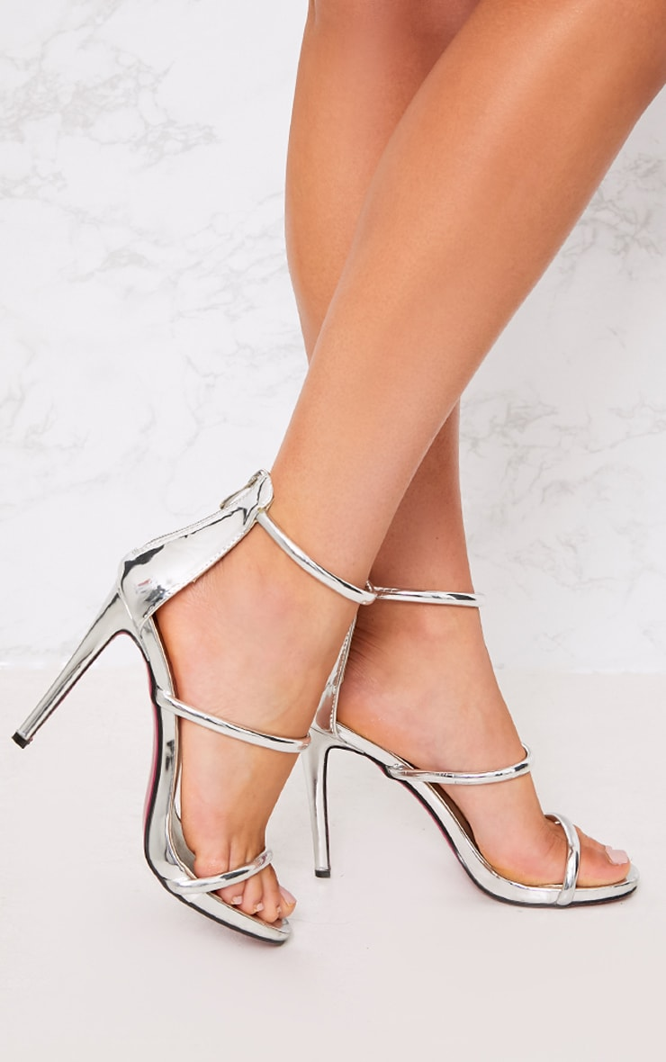 Marthea Silver Tube Strap Heeled Sandals