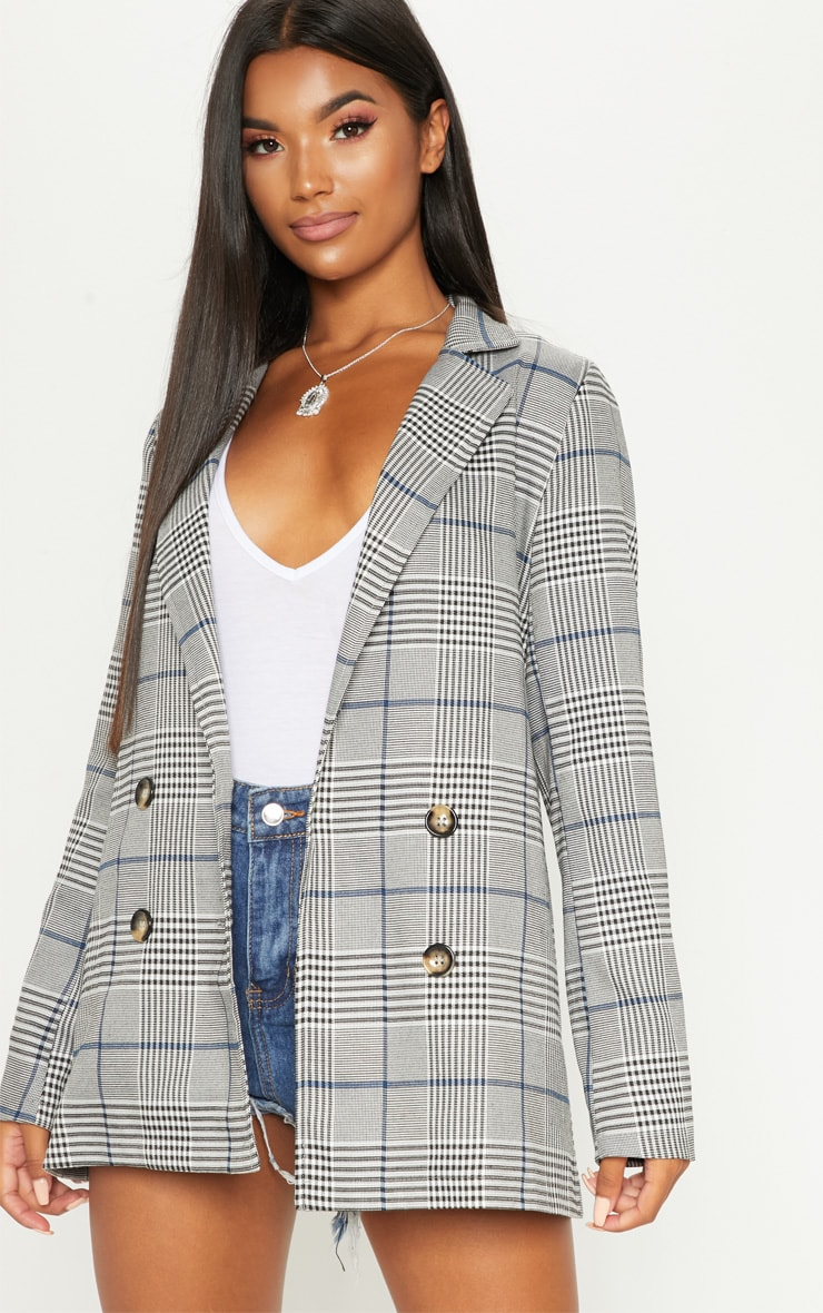 Grey Checked Button Blazer