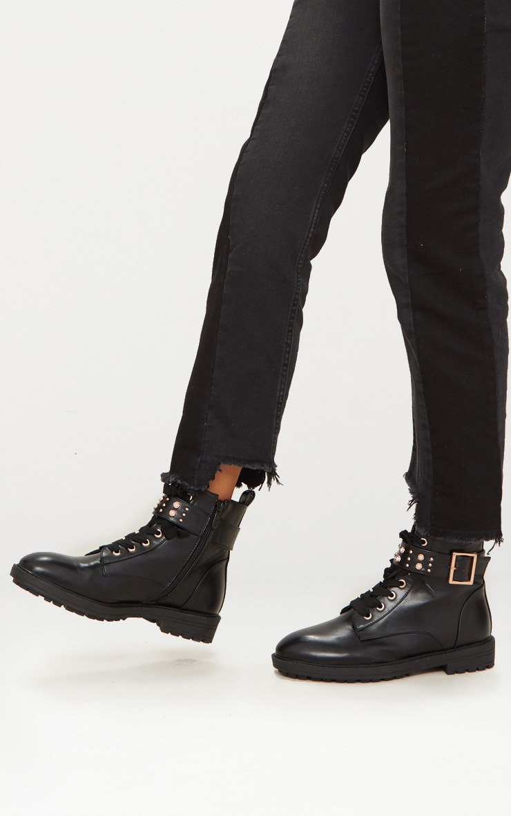 Black Studded Hiker Boot 1