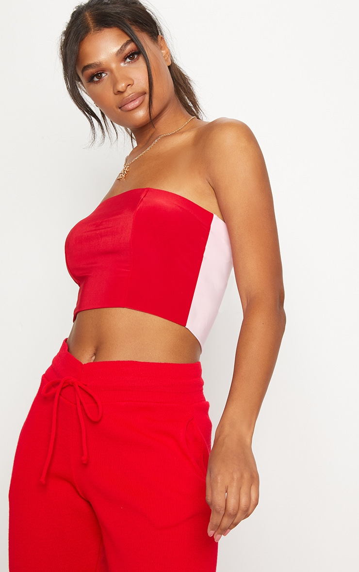 Red Slinky Bandeau Colour Block Crop 1