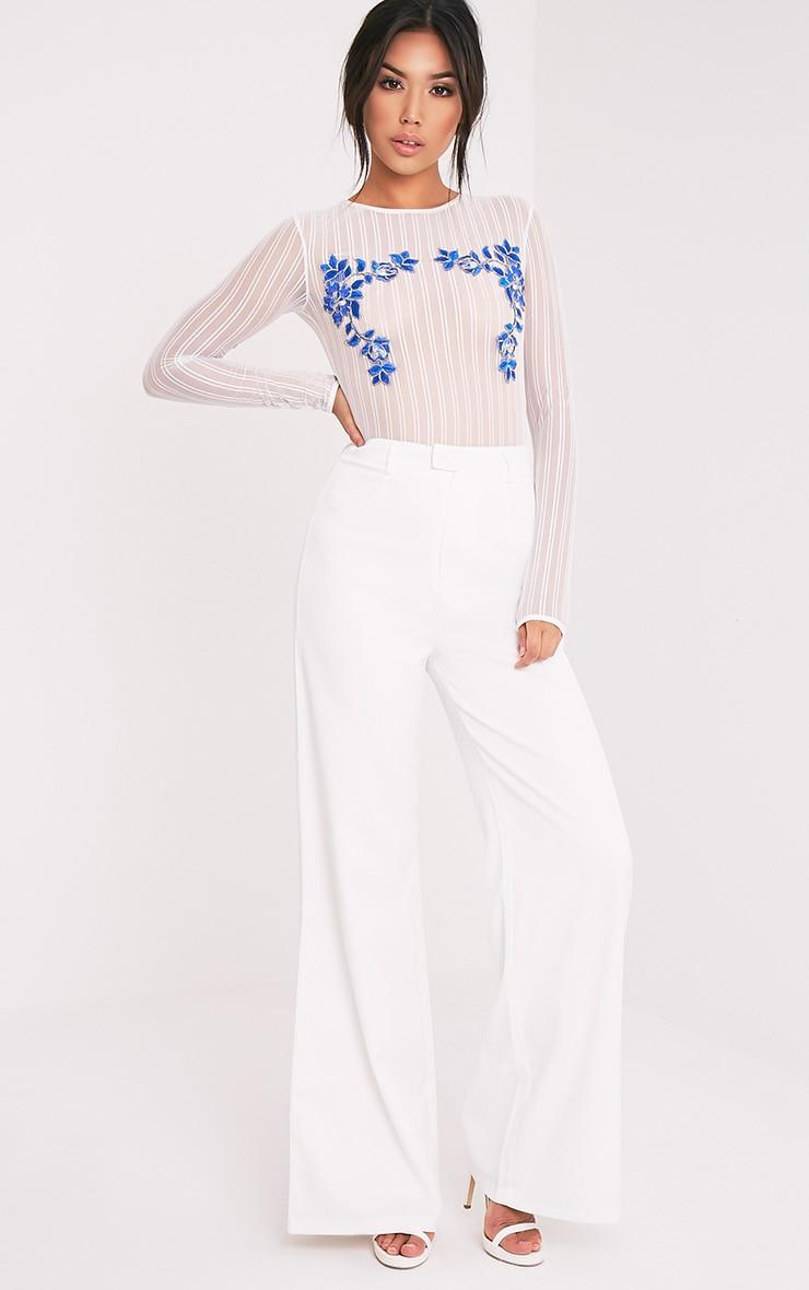 Jarah White Floral Applique Mesh Thong Bodysuit 4
