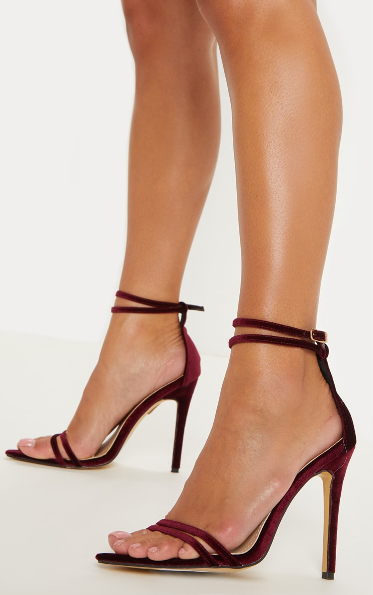 Burgundy Velvet Point Toe Strappy Sandal 1