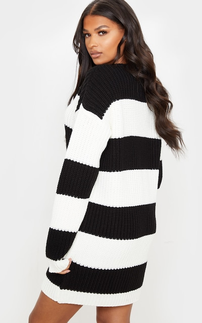 Monochrome Stripe Jumper Dress