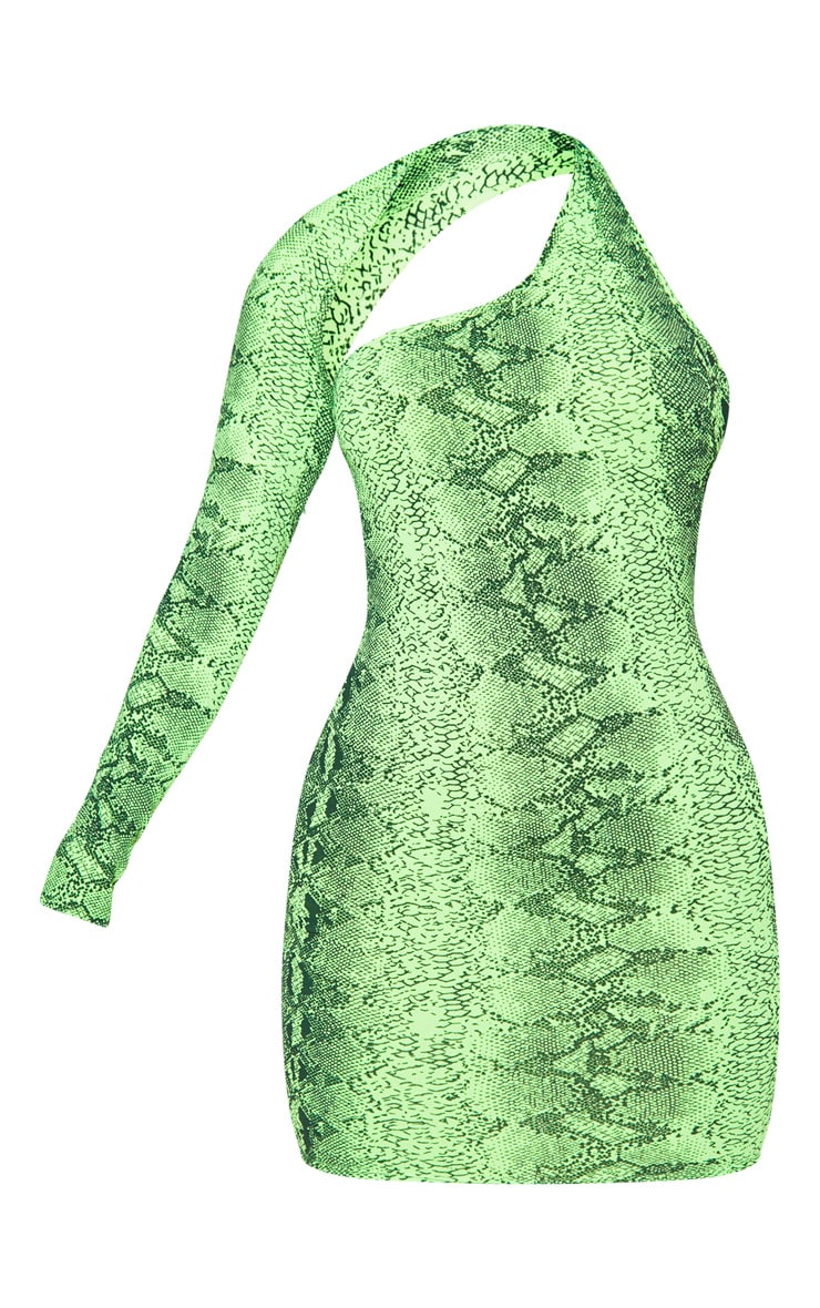 Neon Lime Snake Print One Shoulder Bodycon Dress 3