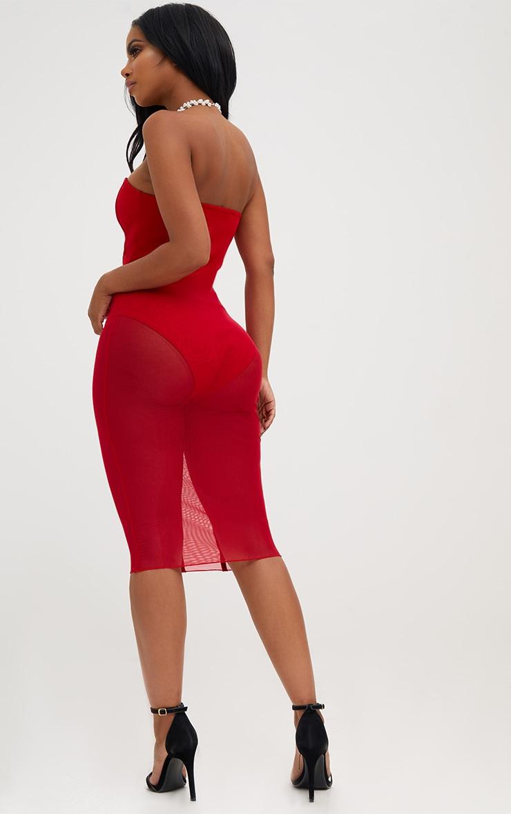 Shape Red Bandeau Mesh Insert Dress 2