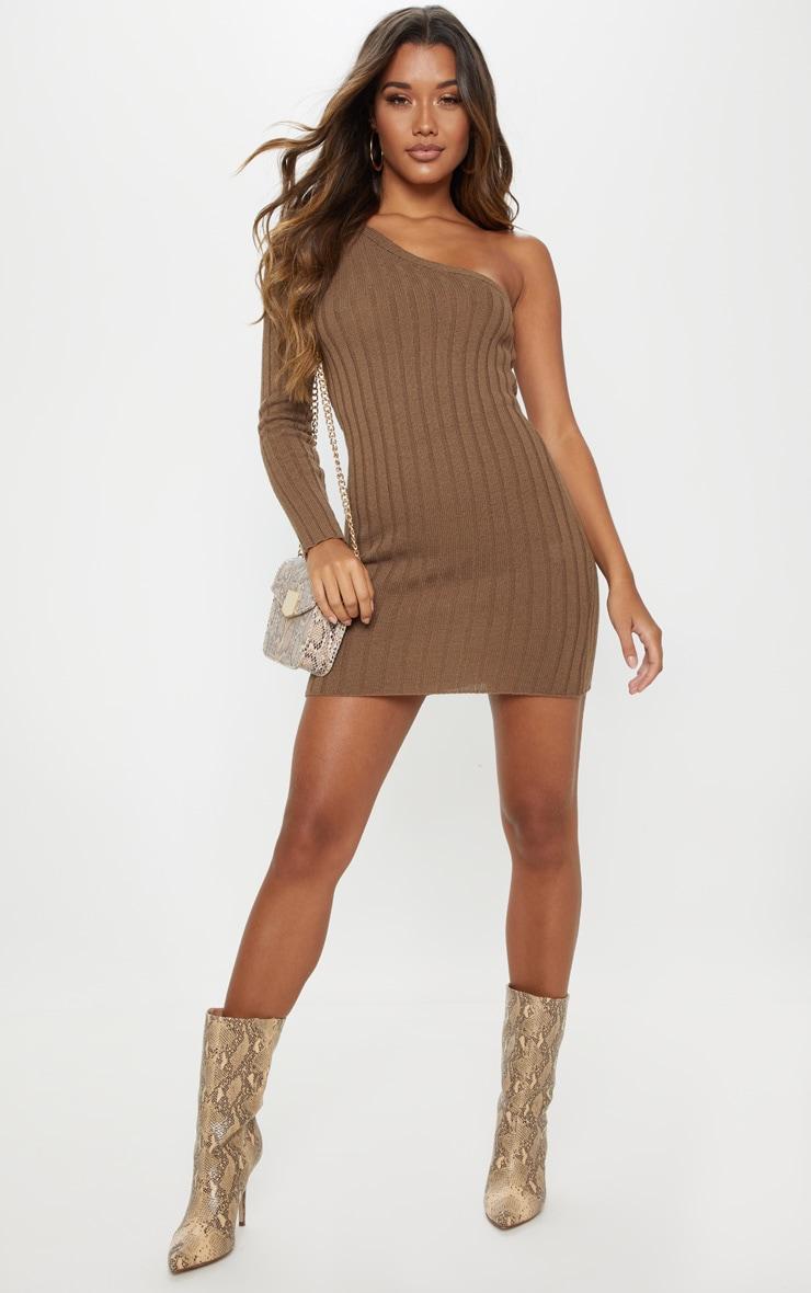 Taupe Asymmetric Knitted Rib Dress 4
