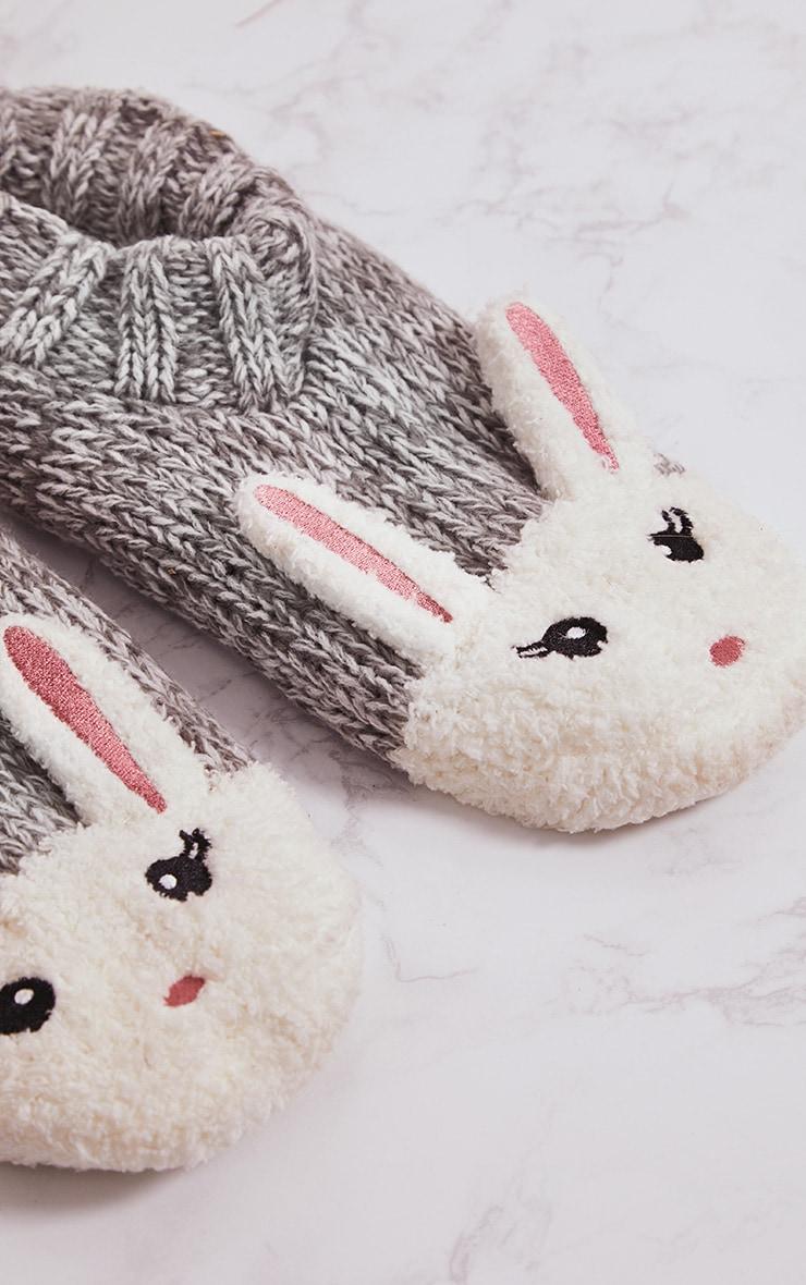 Grey Bunny Slipper Socks 4