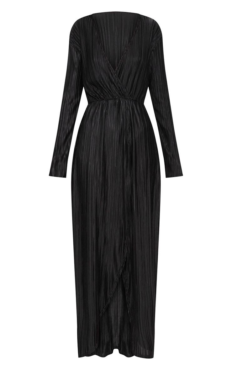Black Pleated Wrap Front Long Sleeve Maxi Dress 3