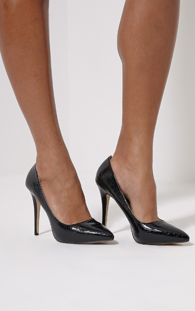 Lori Black Patent Snake Skin Pointed Court Heels 1