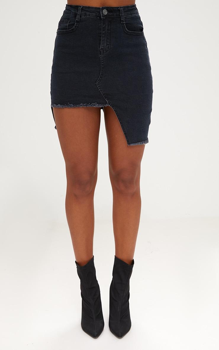 Black Step Hem Mini Skirt 2