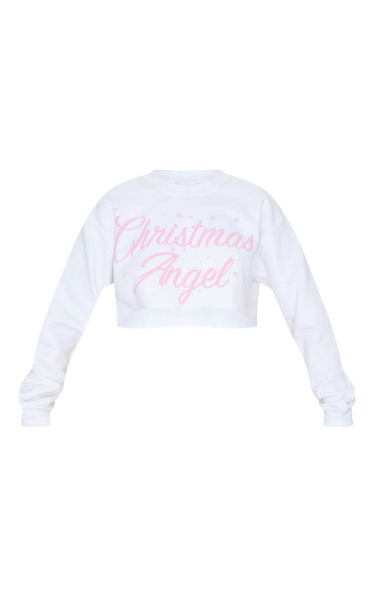 Sweat court blanc à slogan Christmas Angel 3