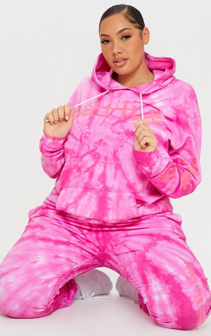PRETTYLITTLETHING Plus Pink Tie Dye Grafitti Hoodie 3