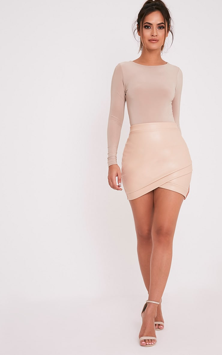 Gabriella Nude Faux Leather Mini Skirt 5
