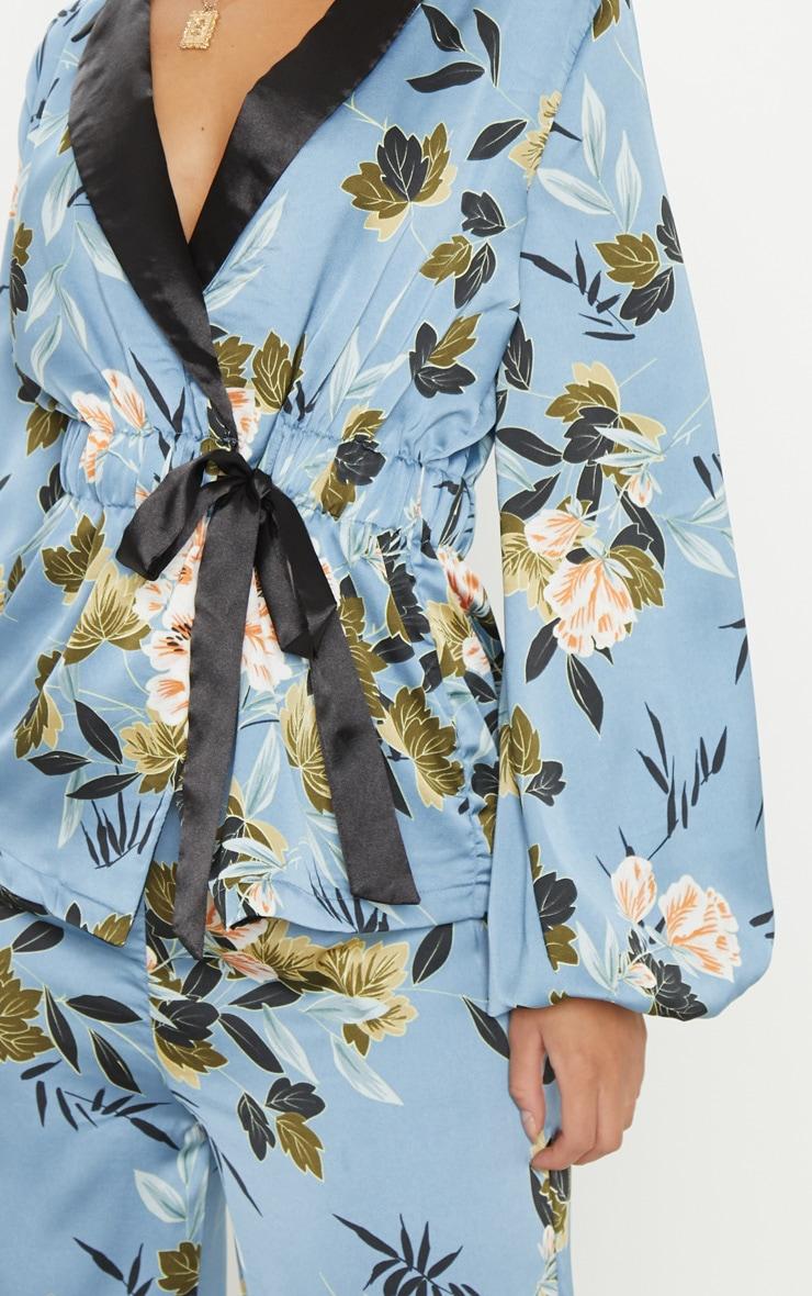 Blue Satin Floral Print Gathered Waist Collar Shirt 5