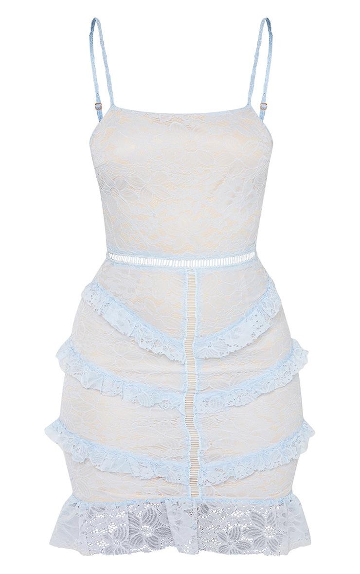 Dusty Blue Lace Frill Bodycon Dress 3